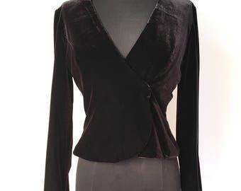 1980s Black Velvet Bolero Jacket Crop Shrug - Vegan - Size 2  small