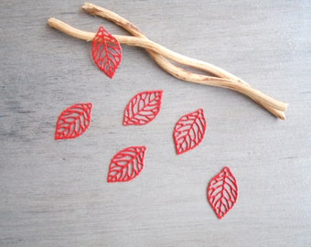 Set of 6 prints enamel filigree leaves red