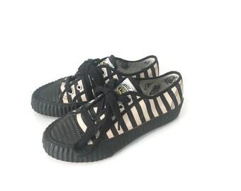 Sneakers bianche e nere, sneakers Formula 1, Sneakers vintage nuove da stock, sneakers anni 70, sneakers bianche e nere numero 36