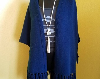 1970's fringe Rochelle California navy blue poncho cardigan.