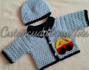 Baby Crochet Pattern, Boys Crochet Pattern, Crochet Cardigan , Crochet baby Pattern, baby outfit,  baby clothes boy, Baby shower, baby boy