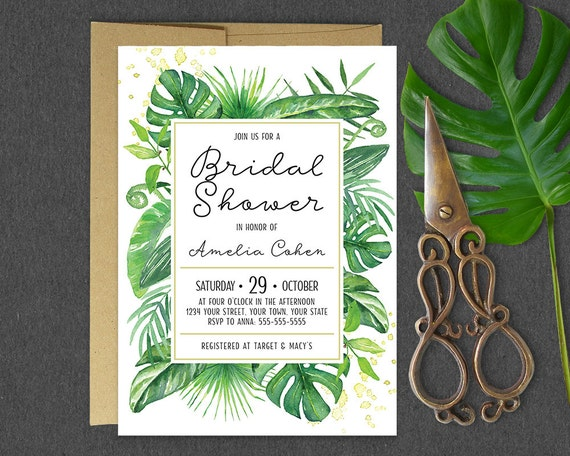 Tropical Bridal Shower: Printable Tropical Bridal Shower Invitation / Tropical