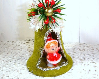Vintage Diorama Christmas Ornament, Bell Shape, Green, Flocked, Double Sided, Mid Century, Retro, New Old Stock, NOS, 1960's   (878-15)