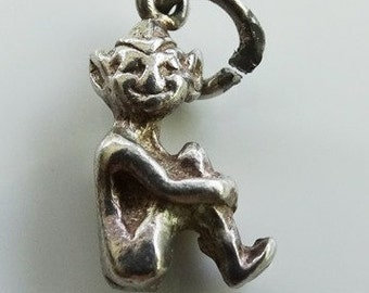 Vintage English Elf Sitting Silver Novelty Charm FREE POSTAGE