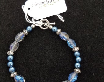 Blue AB and Teal Blue Pearl Bracelet