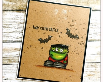 Hey Cute Ghoul, Halloween Card , Hand Stamped Card Handmade, Cute Image Cards, Whimsy Cards, Greeting Cards Hand Made gift Frankenstien Card