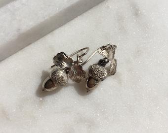 Victorian Sterling Silver Acorn & Oak Leaf Drop Earrings