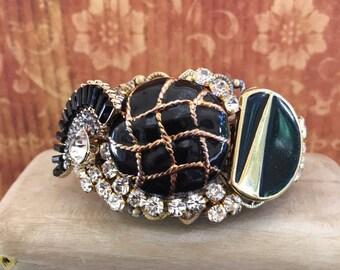 Repurposed Bracelet, Assemblage Bracelet, Handmade Black and Gold Cuff Bracelet, One of a Kind