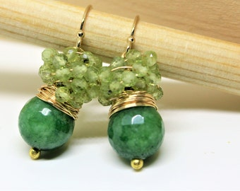 Faceted Emerald Jade earrings surrounded with tiny 2 mm Peridot Stones.August birthday stone earrings. Gold filled earrings, Emerald jewelry