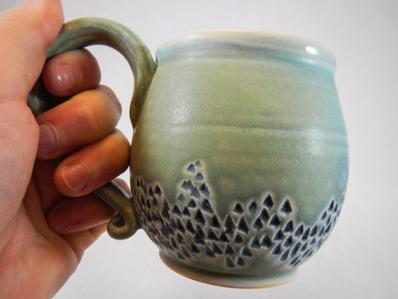 Handmade Carved Seafoam Green Coffee Cup