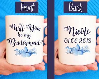"""Bridesmaid Proposal Bridesmaid Mug - Will You be my Bridesmaid - Watercolor Floral Mug - Bridesmaid Gift """"Bella Floral"""" Watercolor Mug Blue"""