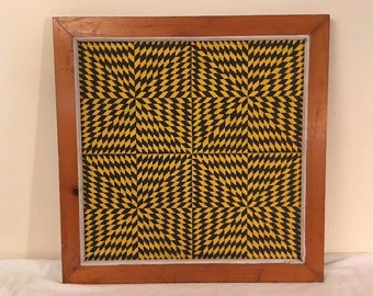 Vintage Mid Century Modern Geometric Abstract Painting Framed Retro Psychedelic Art