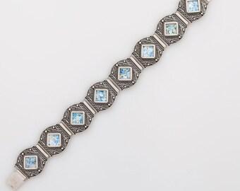 Filigree-925 Sterling Silver Bracelet Ancient Roman Glass Unique Jewelry
