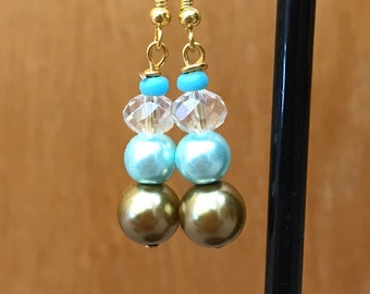 Gold and Blue Beaded Drop Earrings, Gold Blue Beaded Earrings, Gold Blue Drop Earrings, Gold Blue Earrings, Blue Gold Earrings