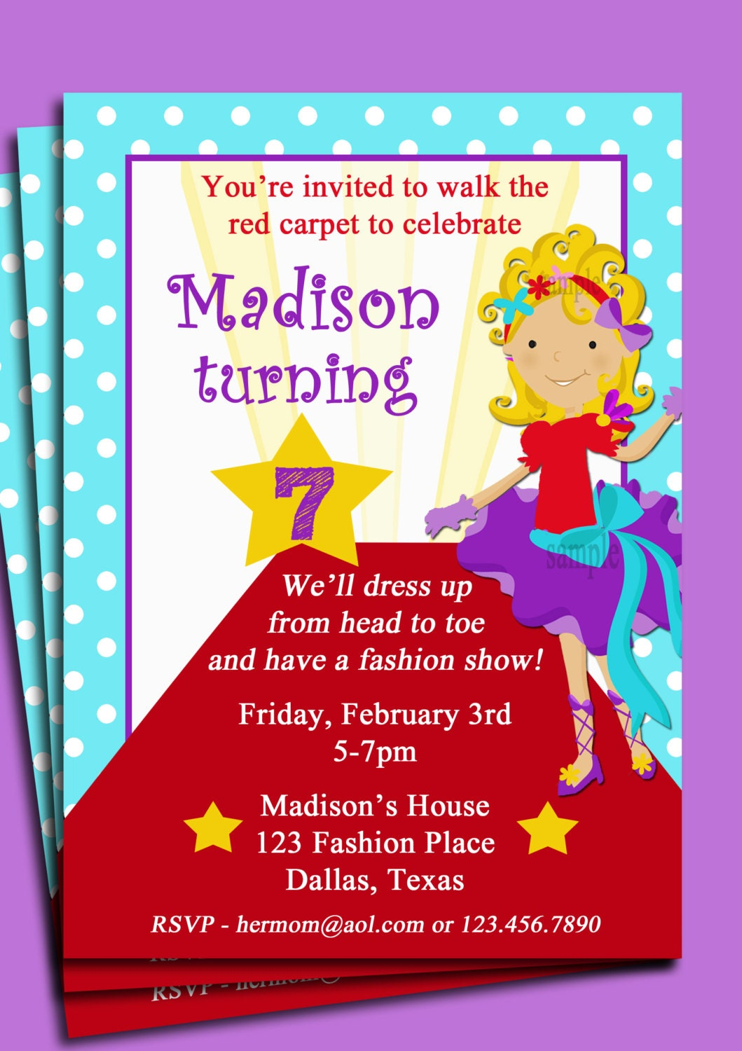 Red Carpet Girl Party Invitation Pick Hair Color/Style and