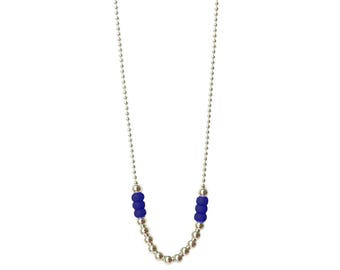 "Royal blue necklace / Extra long necklace / Sautoir necklace / Custom length / 30 inch necklace / silver ball chain / ""Goa"""