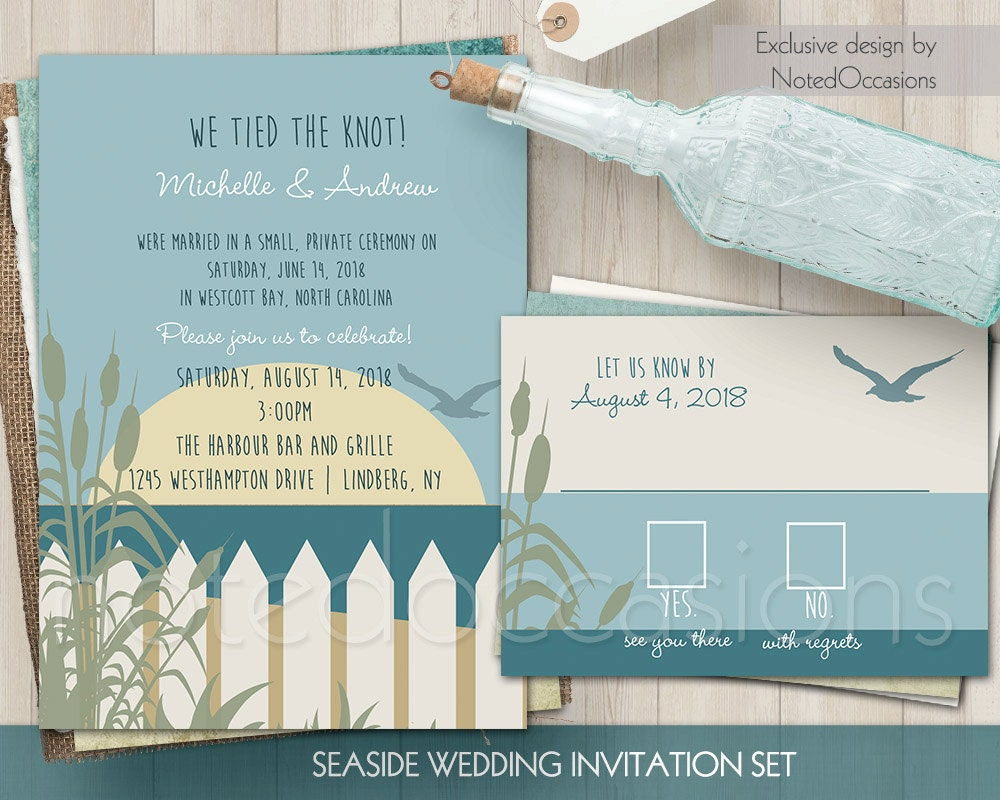 Beach Wedding Invitation Set Reception Only Destination