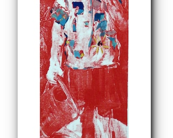 Original - sérigraphie, enfant avec arrosoir - 28,5 x 10 cm - développement pittoresque dans l'huile