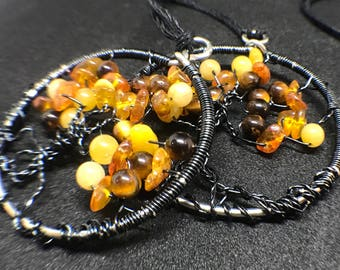Tree of Life weaved with Amber, Jade and Tiger Eye