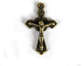 6 Bronze Cross Charms - Crucifix