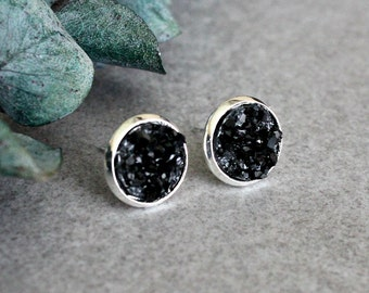 Black Stud Earrings, Black Druzy Earrings, Black Earrings, Faux Druzy Earrings, Black Druzy Studs, Jewelry Gift For Her, Black Post Earrings