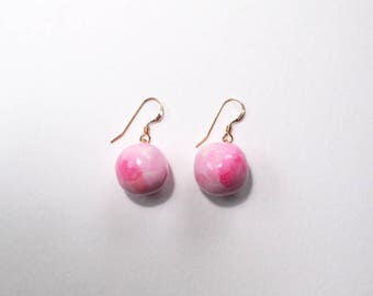 Blush Pink Earrings, Ceramic Jewelry, Gold Drop Earrings, Clay Earrings, Pastel Jewelry, Rose Gold Earrings, Dangle Earrings, Ball Earrings