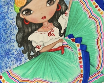 Mexican Girl Art Print. Girls room latin art decor. Spanish dancing girl watercolor painting. Mexican folk art. Mexican girl illustration.