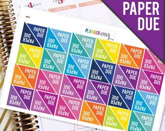 Planner Stickers Erin Condren Life Planner (ECLP) - 48 Paper Due School College Corner Stickers (#2011)