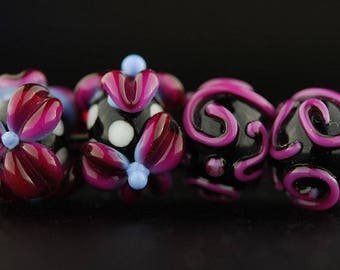 Hot Pink Flower and Scroll - Handmade Lampwork Glass Bead Set