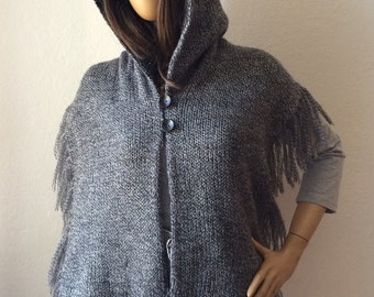 Hooded Scarf, Hood Scarf, Knitted Hood, Reversible Scarf, Fringe Scarf