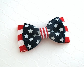 4th of July Hair Bow, Patriotic, Red White and Blue, Stars and Stripes Hair Bow ~ Toddlers, Girls