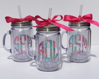 Monogrammed Personalized Initial Name Clear Insulated Mason Jar Tumbler Cup with Straw