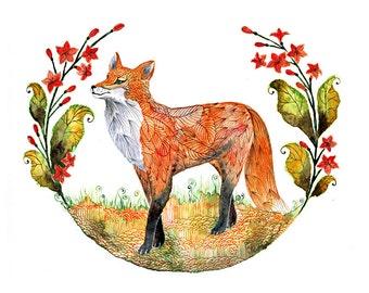 Fox and flowers, Foxy Garden animal art print, size 8'x10'/A4 (No. 23 )
