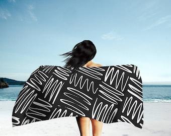 Black Beach Towel, Black and White Towel, Bath Towel, Towel Set, Large Beach Towel, Towel, Pool Towel, Bathroom Towel