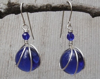 Cobalt Blue Glass Marble Earrings, Sterling Silver Wire Wrapped Jewelry, Gift for Her, Marble Jewelry, Cobalt Blue Earrings Mom