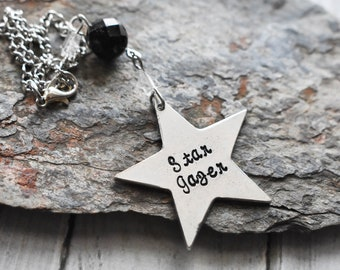 Star Gazer Ornament Hanger- Space Astronomy Celestial Gift - Star Hanging Window Charm- Science Gift- Pewter Star Car Charm- Gemstone Decor