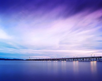 Sunrise Over the White Rock Pier, BC -  Color Photograph Matted and Frame in a Wood Frame