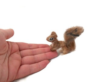 Custom Squirrel Sculpture - tiny needle felted plushie Squirrel Ornament - Woodland Art -  small sized