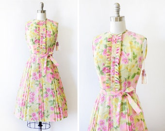 60s floral dress, vintage yellow and pink 1960s dress, small ruffled bib floral print dress