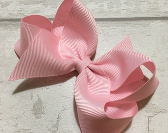 4 inch pink bow, pink ribbon, pink bow clip, baby pink bow, light pink bow