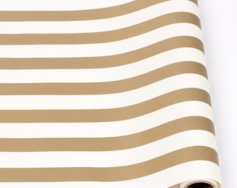 """Paper Table Runner Roll 20"""" by 25' - Classic Gold and White Stripe Pattern"""
