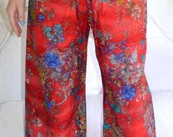 Red pyjamas / lounge pants with floral design, elasticated waist and drawstring - Oriental Red