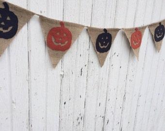 Jack O' Lantern Burlap Banner--5 feet--Halloween/Fall Decor-Rustic/Country/Shabby Chic-Bunting-Natural Burlap-Primitive-Pumpkin-Black/Orange