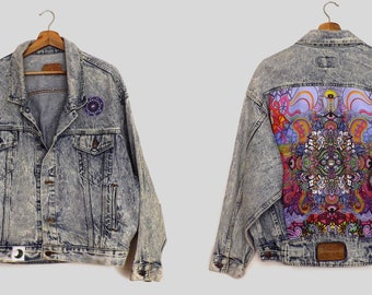 EXCLUSIVE: 11/15 Oversized Vintage Levis Denim Jacket featuring sustainable and unique handmade panels and trims