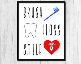 Dentist Office Decor Digital Download Dentist Office Wall Art Printable Art Orthodontist Wall Art Dental Hygiene Brush Floss Smile Print