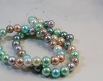 "Mixed Color Pastel 8mm Round Glass Pearl Beads, 16"" Strand"