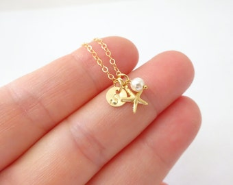 Personalised Starfish necklace, Pearl and Tiny Initial necklace, Gold filll starfish pendant, Beach nautical wedding, Little girls necklace