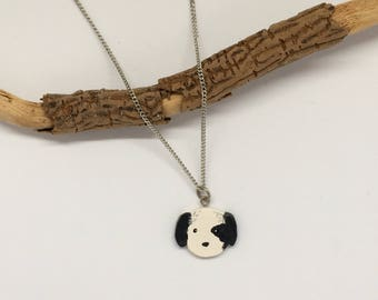 Black and white puppy necklace//original gift//animal necklace//trendy necklace