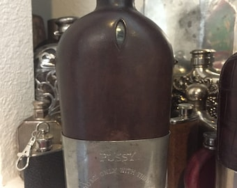Large 19th Century Flask with Unusual Engraving