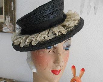Awesome 1940's Black Straw Tilt Hat